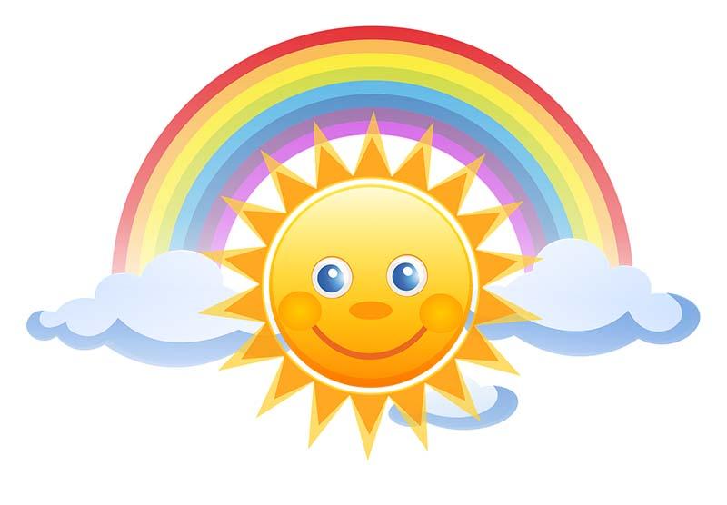 Disegno di un sole sorridente con arcobaleno