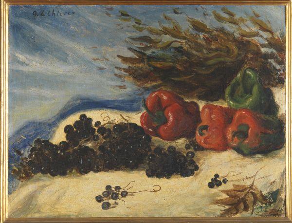 Dipinto con peperoni rossi e uva