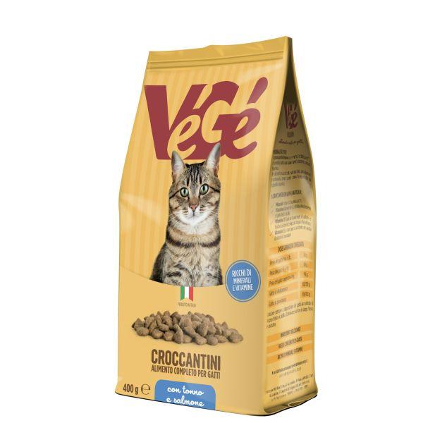 Crocchette con tonno e salmone per gatti Vegé GDO (Grande Distribuzione Organizzata)