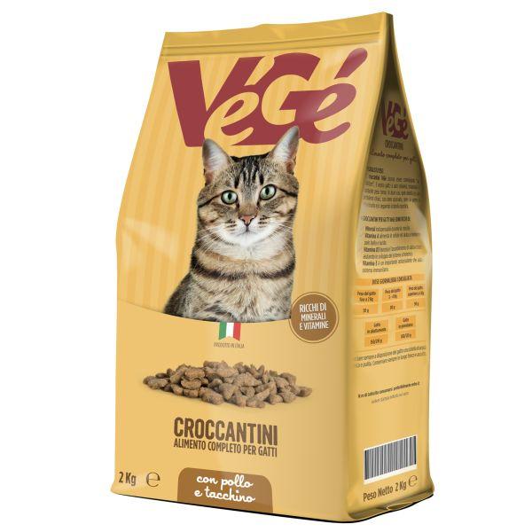 Crocchette con pollo e tacchino 2 kg per gatti Vegé GDO (Grande Distribuzione Organizzata)